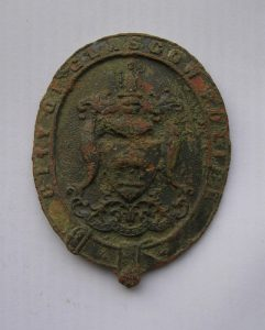 Glasgow helmet badge 1868-80